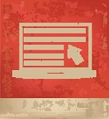 Laptop design on red background,vector