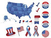 USA Presidential Election Battons and Design Elements- 2016