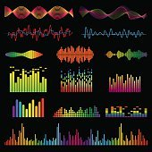 Audio signal and music waves vector set
