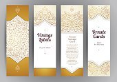 Vector set of golden vertical cards.