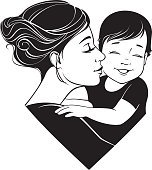 Tender hugs of mother and her child