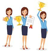 Business woman winner set. Cheerful lady holding prize and certi