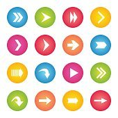 Colorful arrow icon circle web buttons.