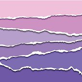 Colorful violet set of torn paper banners for website