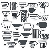 Coffee cup and tea cup. Isolated elements for design.