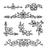 Hand drawn decoration elements, frames, page divider and border  vector