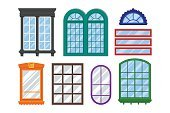 Set of detailed windows for private house or building.
