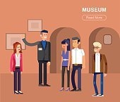 Funny character people in museum