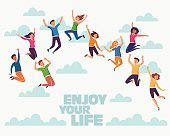 Group of young people jumping on white background with copyspace