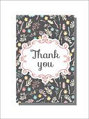 Universal card template with floral pattern. Vector illustration
