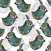 Artistic pattern with colorful retro birds.