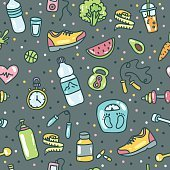 Healthy lifestyle. Vector doodle hand-drawn flat icon set, illustration
