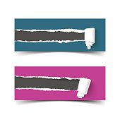 Set of vector banners torn paper with scroll and ripped