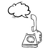 black and white telephone with speech buble
