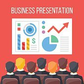Business presentation flat illustration. Business conference, business meeting concepts