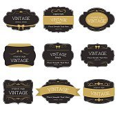 Set of vintage style label element. Vintage ornament.
