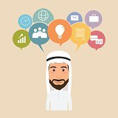 business people character infographic with icon. arab man at wor