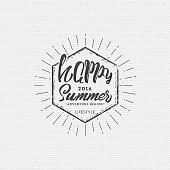 Happy summer - poster, stamp, badge, insignia, postcard, sticker, can