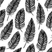 Seamless pattern. Hand drawn vector vintage illustration - Feather