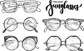 Hand drawn vector illustration - sunglasses. Fashion sunglasses.