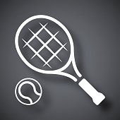 Tennis racket and tennis ball, vector icon