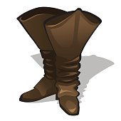Leather high brown boots on a white background