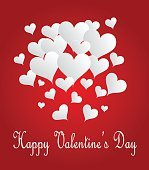 Valentines background with hearts red