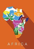 Africa. Silhouette of the continent, including animals within  boundaries in