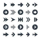 Arrow sign icon set. Simple circle shape internet button on