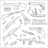 Hand drawn set  of Weapons