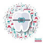 Flat Tooth in Braces Sticker Icon.