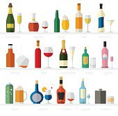 Alcohol glasses and bottles flat icon set. Different drinks