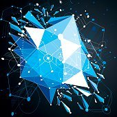 Geometric Bauhaus 3d vector blue background with low poly object