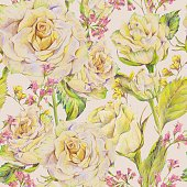 Floral seamless background with white roses