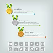 Sports medal and award concept. Sport Infographic with icons.