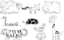 wild animals doodles