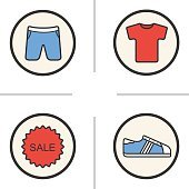 Sport clothes store icons