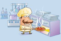 Cartoon chef with pizza, oven, kitchen utensils, pans, cook stov