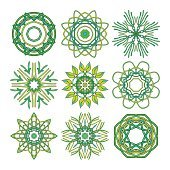 Vector set of nine floral circular design elements