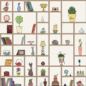 Hand drawn book shelves seamless pattern background