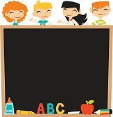 Retro Kids Back To School Blackboard copy space