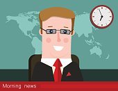 Morning news. Silhouette of a man with glasses. News announcer