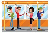 Young people using smartphone socializing in public transport