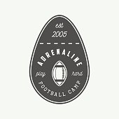 Vintage rugby and american football label, emblem.