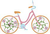 Girl bike vector illustration