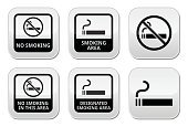 No smoking, smoking area vector buttons set