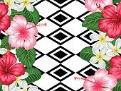 Seamless pattern with tropical flowers hibiscus and plumeria. Background made