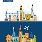 French Landmarks. Travel to Europe. London and Paris city.