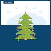 Green stylized Christmas tree. New Year greeting card design.