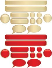 Shiny Buttons and Stickers Set - Gold, Red
